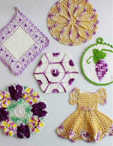 vintage crochet purple potholder