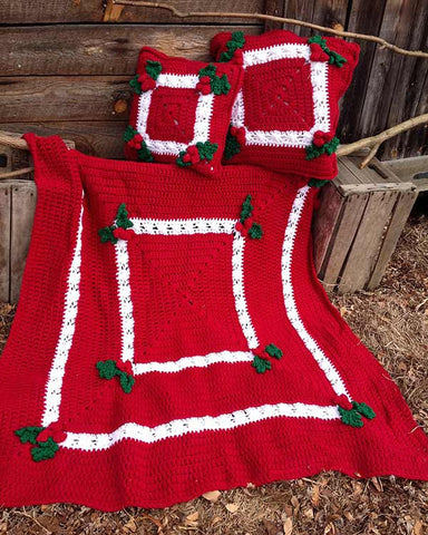 Holly & Berries Afghan & Pillow Crochet Pattern - Maggie's Crochet