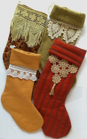 vintage crochet stocking trims set