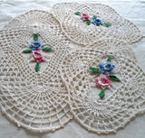 variegated rose doilies