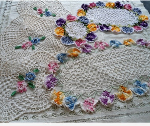 variegated rose and pansy doilies crochet pattern