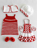 red and white baby doll ensemble