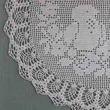 vintage crochet filet doily birds and roses oval