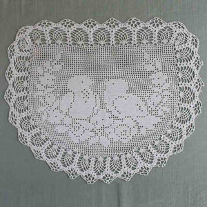 Vintage filet crochet pattern chair backoval doily birdsroses vintage crochet filet doily birds and roses dt1010fo