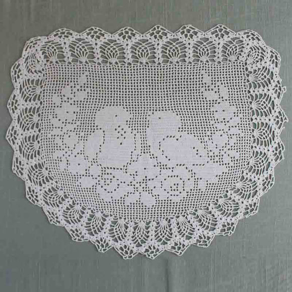 vintage crochet filet doily birds and roses