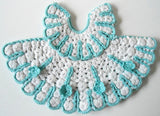 blue and white dress potholder