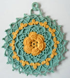 yellow rose and blue lace potholder