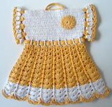 yellow and white dress potholder