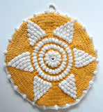 yellow and white popcorn star potholder