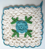 square blue rose potholder