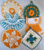 vintage blue and yellow potholders