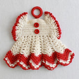 vintage crochet potholders red