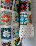 granny square coat white with colorful squares