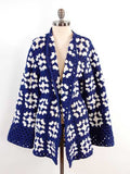 granny square coat blue and white