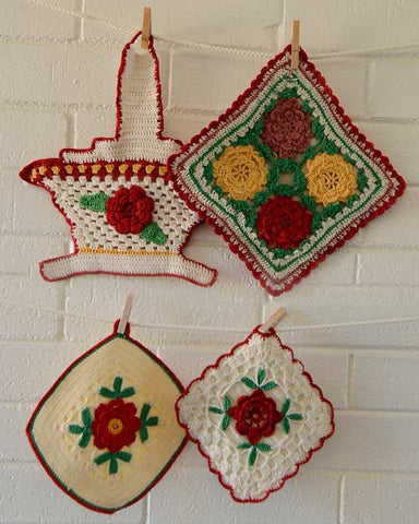 vintage crochet red rose potholders