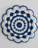 shell round blue and white potholder