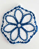 blue and white flower outline potholder