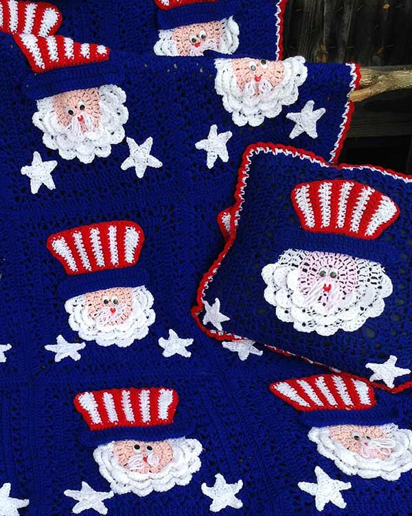4th Of July Uncle Sam Afghan Amp Pillow Set Crochet Pattern