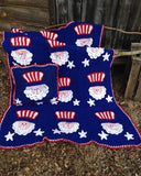 4th of July Uncle Sam Afghan & Pillow Set Crochet Pattern