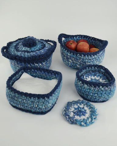 super easy bulky kitchen set pattern casserole cozy and lid coasters coaster basket napkin basket apple basket