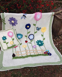 Field of Flowers Afghan & Pillow Set - Maggie's Crochet