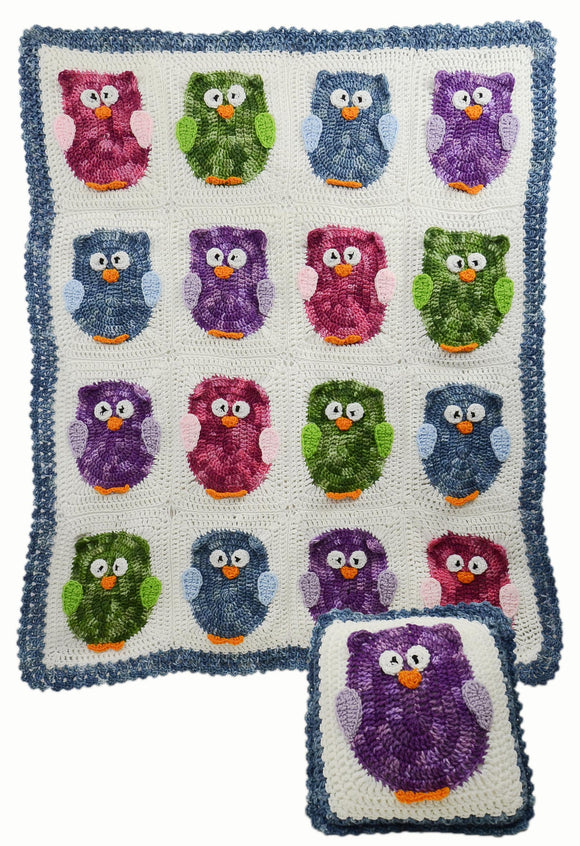 Owl Afghan & Pillow Set Crochet Pattern - Maggie's Crochet