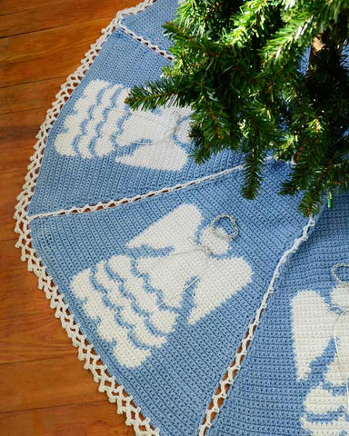blue tree skirt with angels