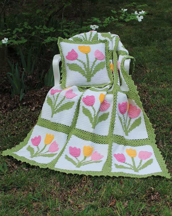 Tulip Afghan And Pillow Set Crochet Pattern Maggie S Crochet