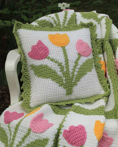 Tulip Afghan and Pillow Set Crochet Pattern