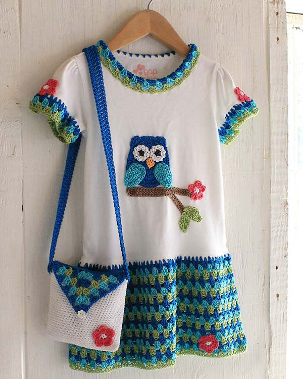 Owl T Shirt Dress Hat And Purse Crochet Pattern Maggie
