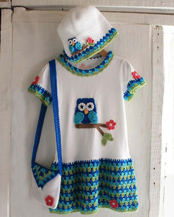 Owl T-Shirt Dress, Hat and Purse Crochet Pattern - Maggie's Crochet