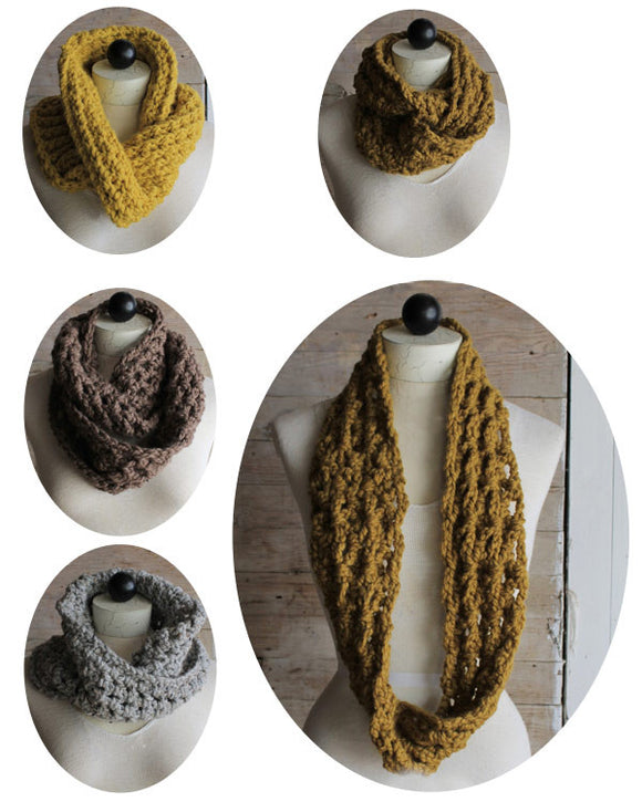 Thick & Quick Infinity Scarves & Cowls Crochet Pattern - Maggie's Crochet