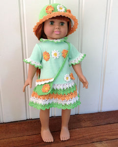 "18"" Doll Flower Power Tee Shirt Dress, Hat and Purse Crochet Pattern - Maggie's Crochet"