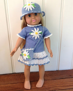 "18"" Doll Daisy T-Shirt Dress, Hat & Purse Crochet Pattern - Maggie's Crochet"