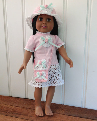 pink and white rose t-shirt dress on doll with matching hat and purse