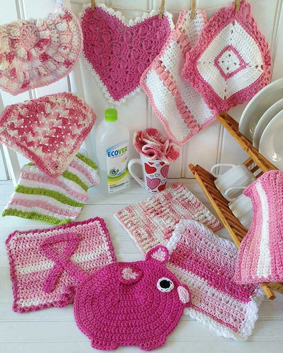 Pink Dishcloth Set Crochet Pattern