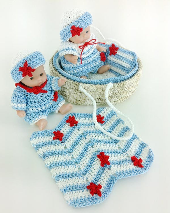 Moses Basket Baby Sailors Crochet Pattern - Maggie's Crochet