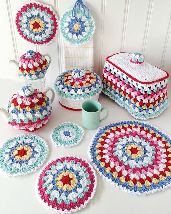 Granny Go Round Kitchen Set Crochet Pattern