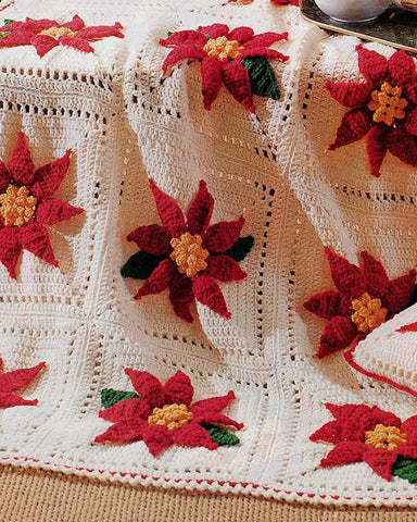 Poinsettia Afghan & Pillow Set Crochet Pattern