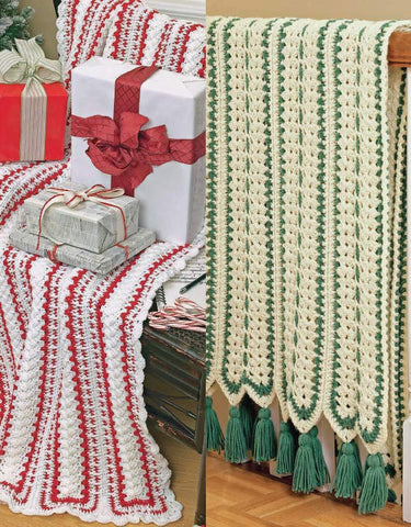 Mile-A-Minute Christmas Afghans Set Crochet Pattern