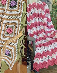 Cabbage Rose & Ripples Afghan Set Crochet Pattern - Maggie's Crochet