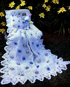 Pineapple Rose Blossoms Afghan &  Pillow Set Crochet Pattern