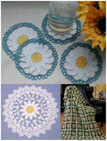 daisy doily coaster and afghan