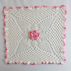 pineapple and rose granny square doily