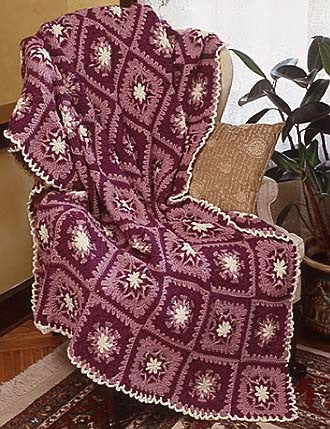 Loop Flower Square Afghan Crochet Pattern