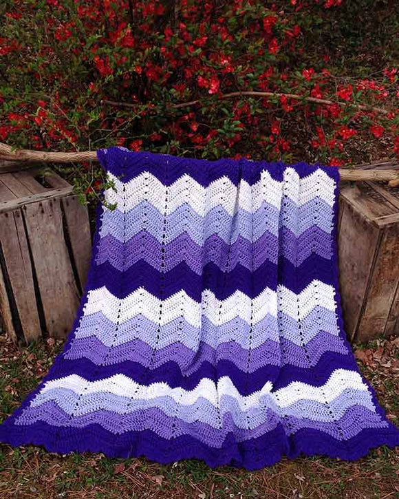 Purple Mountains Majesty Ripple Afghan Crochet Pattern - Maggie's Crochet