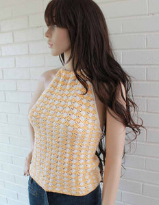 shell halter top-orange and white