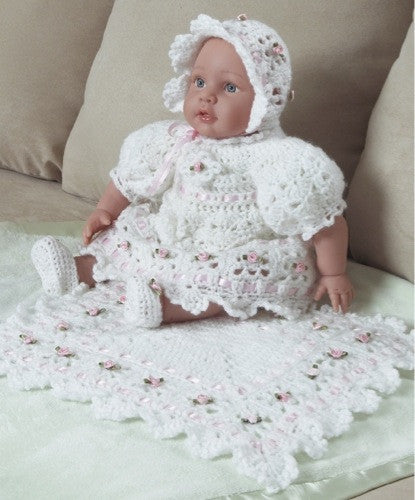 white rose christening doll dress and afghan