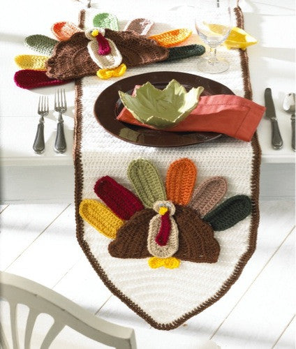 Turkey Table Runner and Placemat Crochet Pattern - Maggie's Crochet