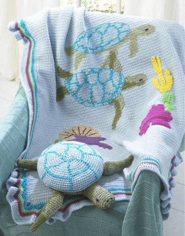 turtle afghan and pillow toy